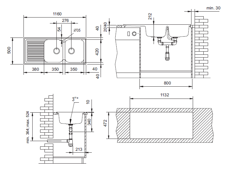 Fregadero modelo zentia sint tico stkz 2c1e sintetika - Dimensiones fregadero ...