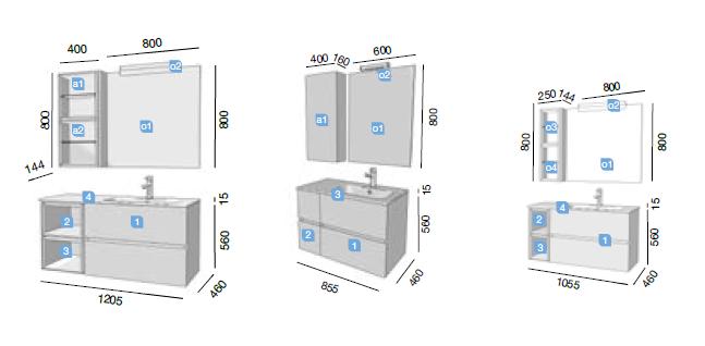 Mueble de ba o modular fussion line con caja salgar - Muebles de bano a medida ...