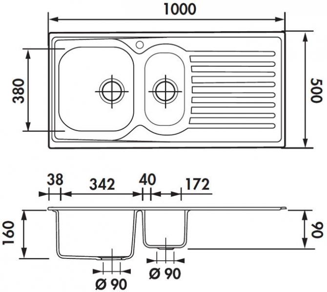 Fregadero de acero inoxidable luisina jazzy ev4711ve for Dimensiones fregadero