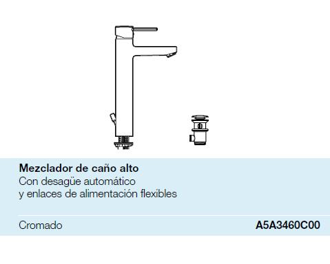 Grifo de lavabo con ca o alto targa roca a5a3460c00 for Catalogo roca pdf