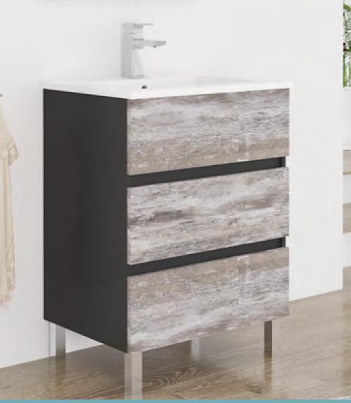 Mueble de ba o serie lara 60cm de 3 cajones viberco novedad - Muebles rusticos lara ...