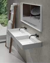 LAVABO SOLID SURFACE DE PARED O SOBRE MUEBLE FLAT. RESIBLOCK