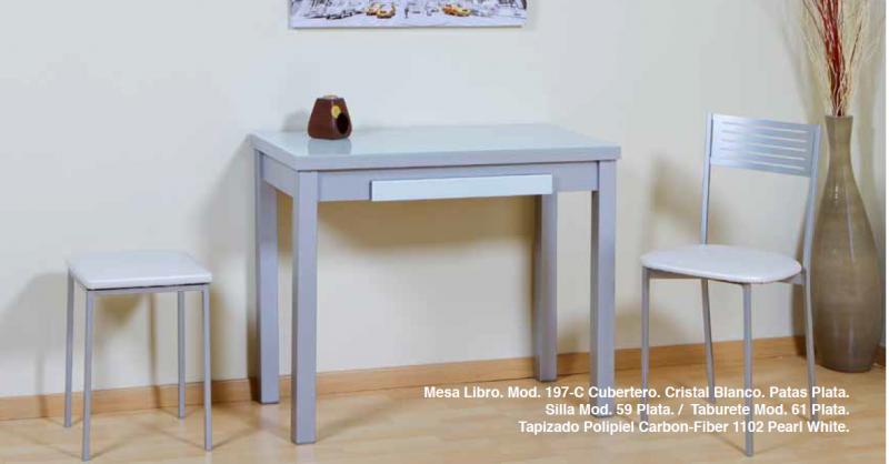 Mesa de cocina de libro encimera de cristal y caj n mod lacobel - Encimeras de cocina de cristal ...